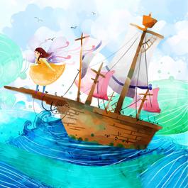 水彩画-帆船